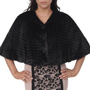 NEWLIST! Eva Longoria Faux Fur Black Capelet